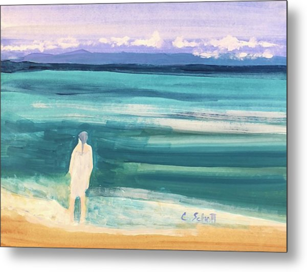 Fair Skined Bather Metal Print