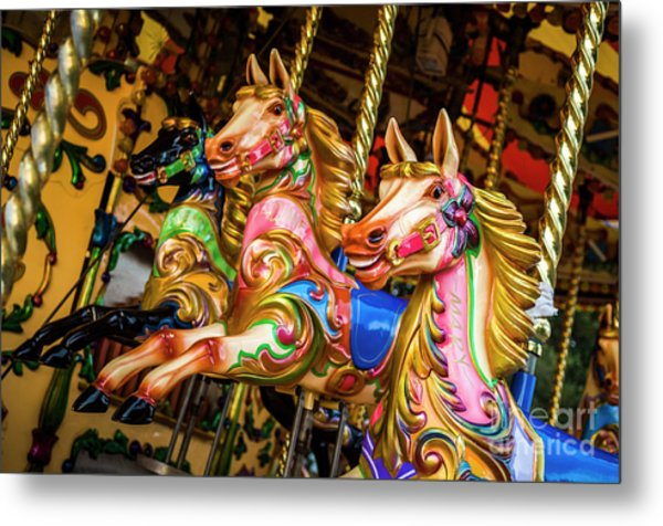 Fairground Carousel Horses Metal Print