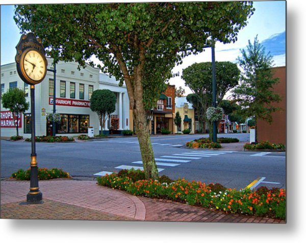 Fairhope Ave With Clock Metal Print