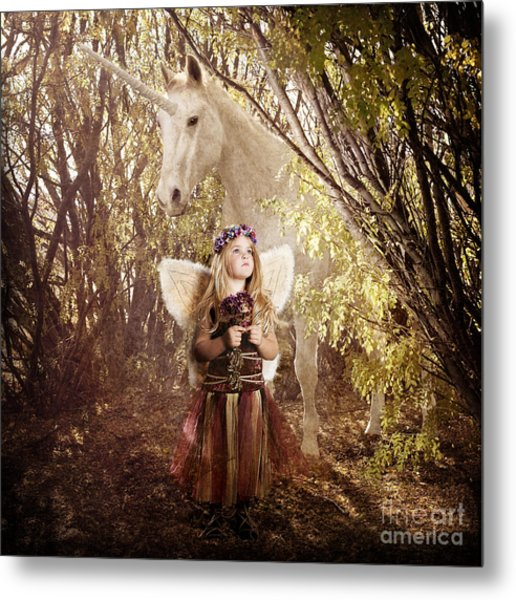 Fairy And Unicorn Metal Print