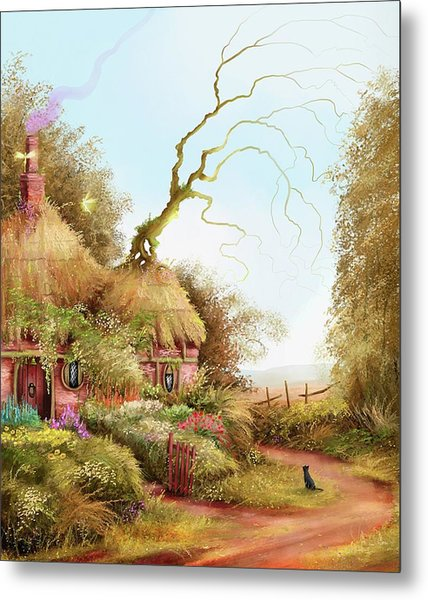 Fairy Chase Cottage Metal Print