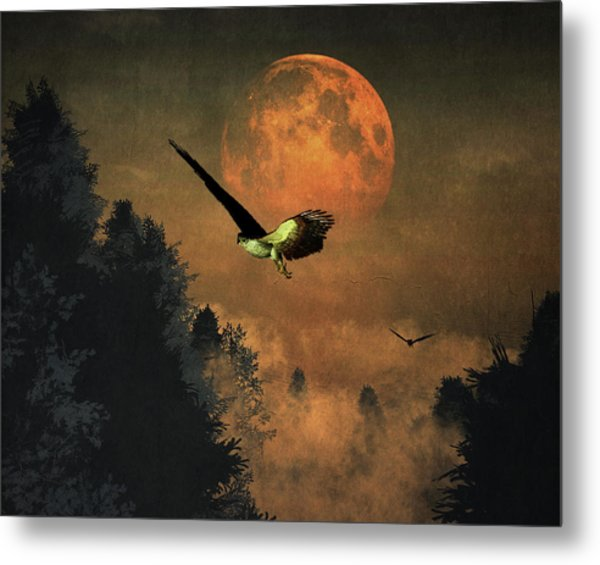 Metal Print featuring the painting Falcons Hunting In The Evening by Jan Keteleer