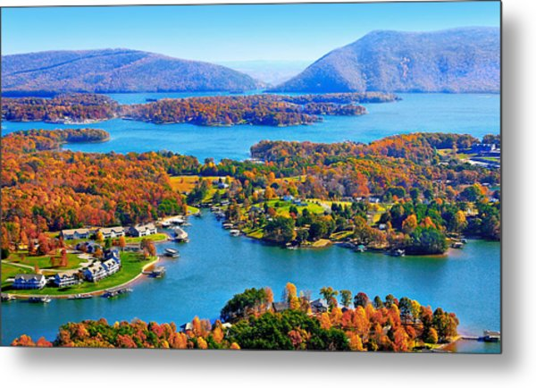 Fall Aerial Smith Mountain Lake Metal Print