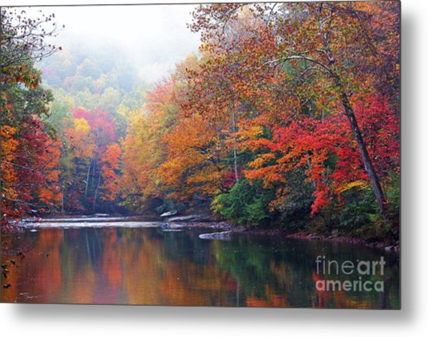 Fall Color Williams River Mirror Image Metal Print