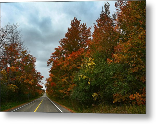 Fall Colors Dramatic Sky Metal Print