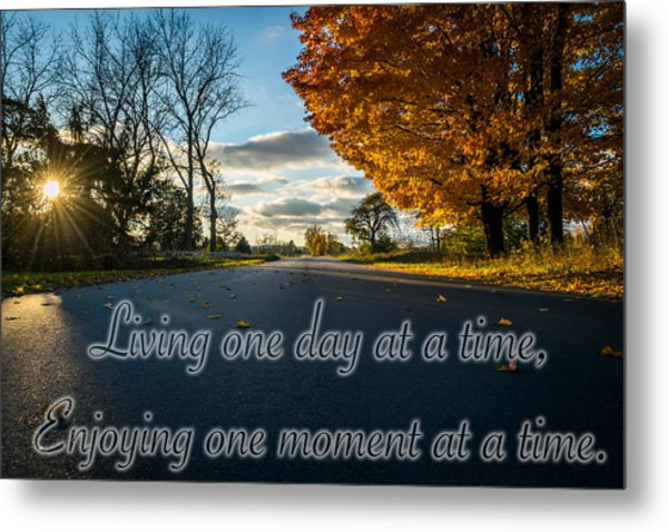 Fall Day With Saying Metal Print