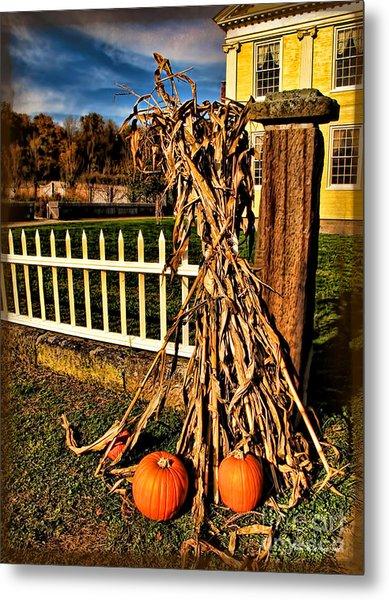 Fall Fence At Hale Farm Metal Print