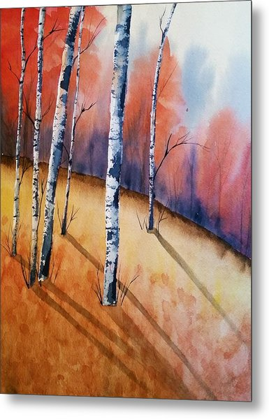 Fall In The Birches Metal Print