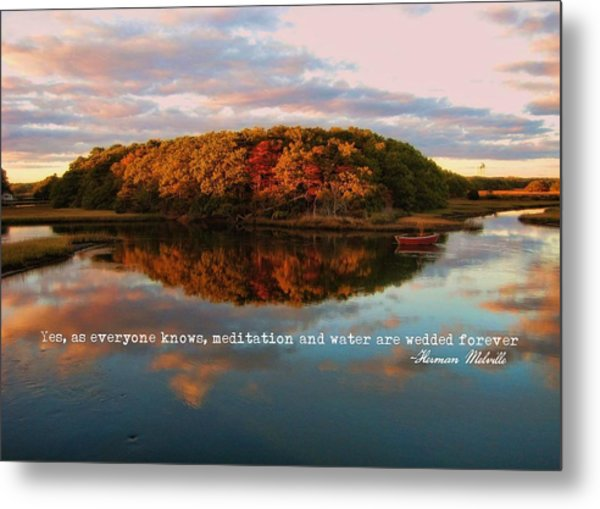 Fall In Wellfleet Quote Metal Print by JAMART Photography