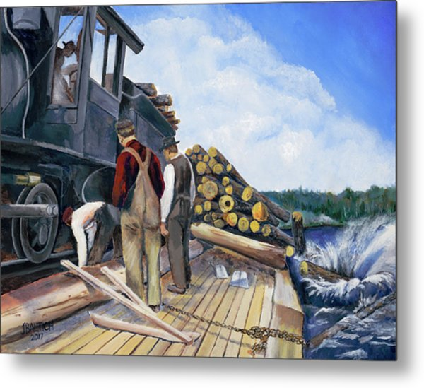 Fall Lake Train Metal Print