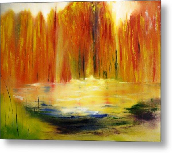 Fall Pond Metal Print by Larry Ney  II