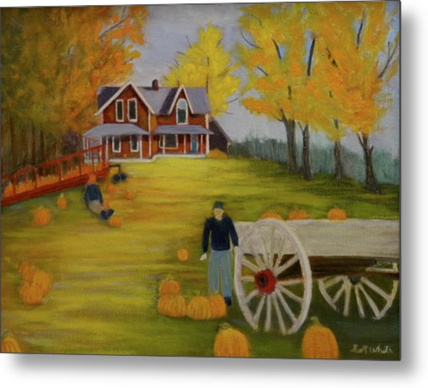 Fall Pumpkin Harvest Metal Print