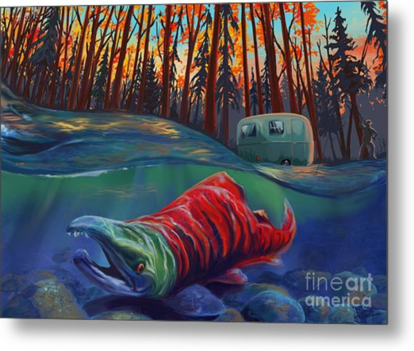 Fall Salmon Fishing Metal Print