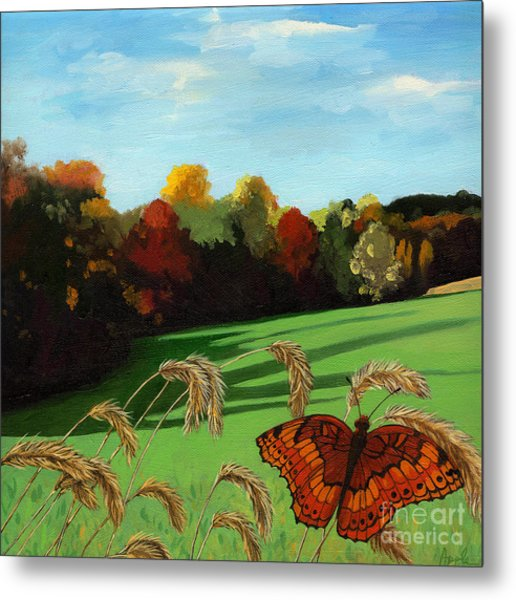 Fall Scene Of Ohio Nature Painting Metal Print by Linda Apple