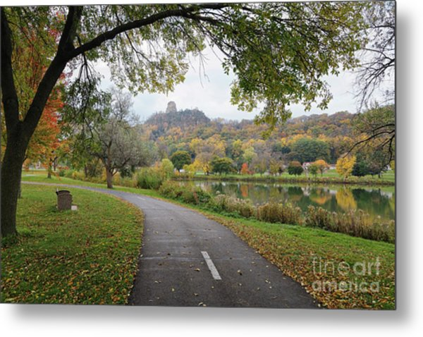 Metal Print featuring the photograph Fall Sugarloaf With Path And Bench by Kari Yearous