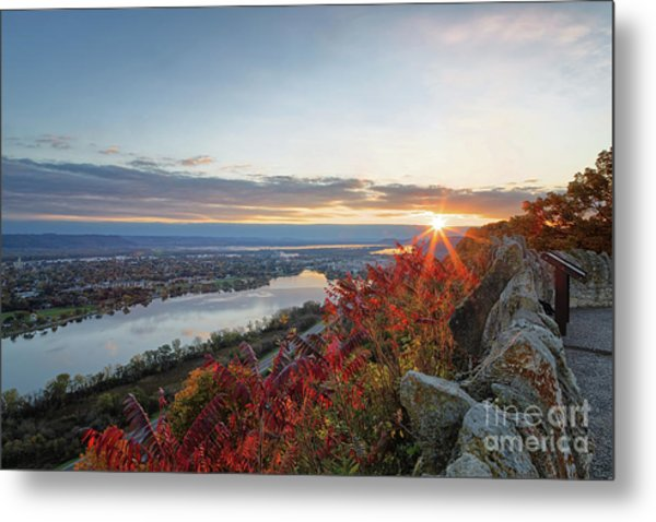 Metal Print featuring the photograph Fall Sunrise At Garvin Heights Winona by Kari Yearous
