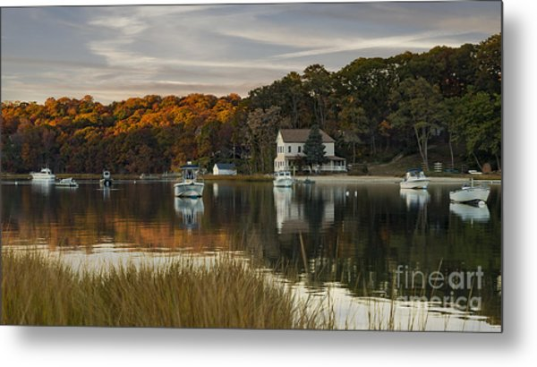 Fall Sunset In Centerport  Metal Print
