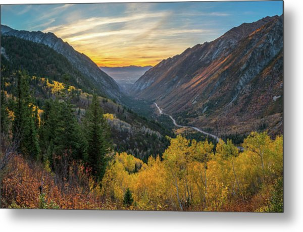 Fall Sunset In Little Cottonwood Canyon Metal Print