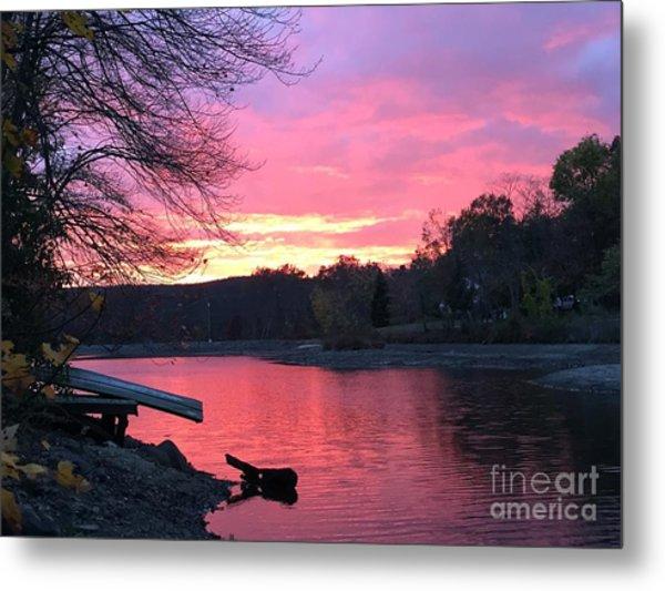 Fall Sunset On The Lake Metal Print