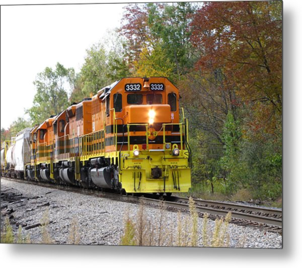Fall Train In Color Metal Print