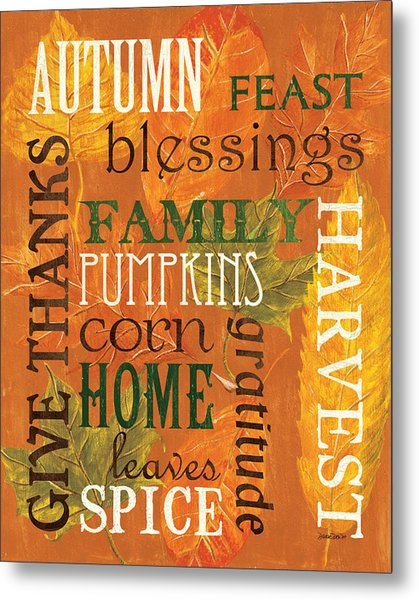 Fall Typography 1 Metal Print