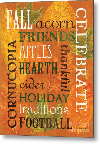 Fall Typography 2 Metal Print