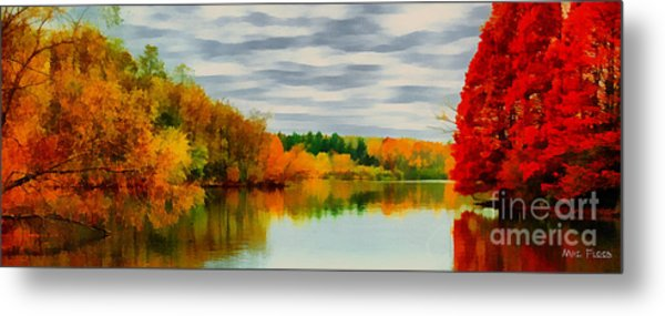 Fall Water Painterly Rendering Metal Print