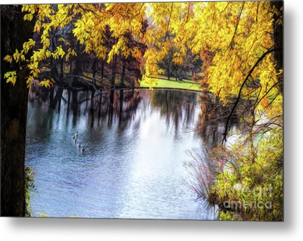 Fall Yellow Boarder Metal Print