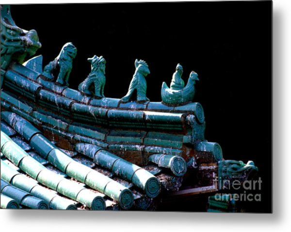 Fallen Guardians Of The Old Palace Metal Print by Wingsdomain Art and Photography