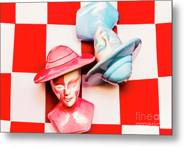 Fallen King And Queen On Chess Board Metal Print