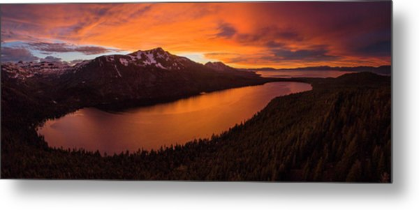 Fallen Leaf Lake Sunset Aerial By Brad Scott Metal Print