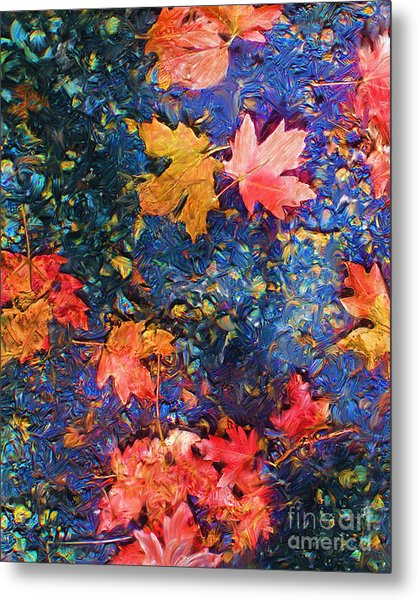 Falling Blue Leave Metal Print by Marilyn Sholin