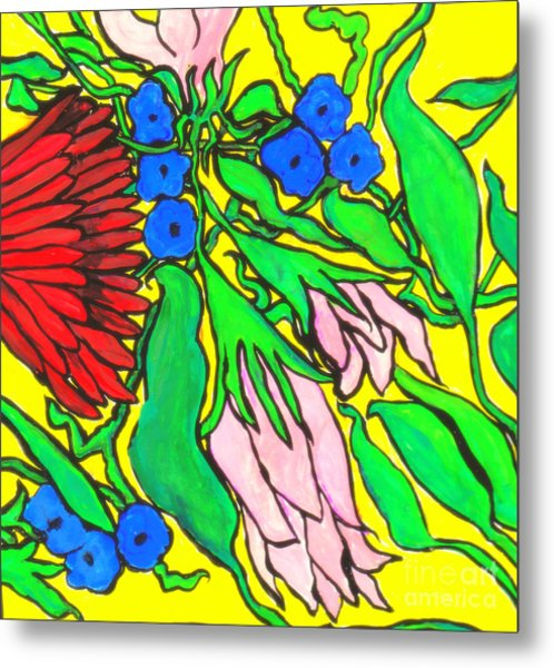 Falling Flowers On Yellow Background Metal Print by Kim Wilcox