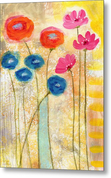 Falling For You- Floral Art By Linda Woods Metal Print