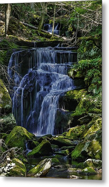 Falls In Vermont Mountain Stream  Metal Print