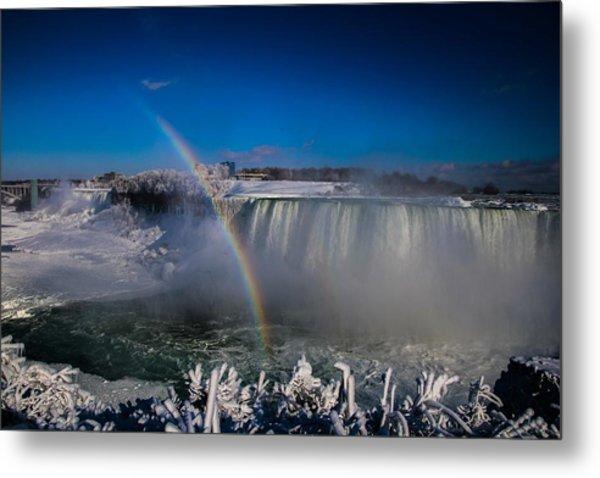 Falls Misty Rainbow  Metal Print