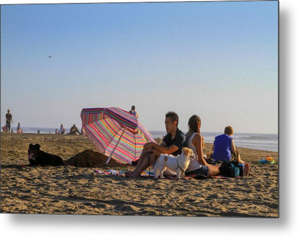 Family At Ocean Beach With Dogs Metal Print