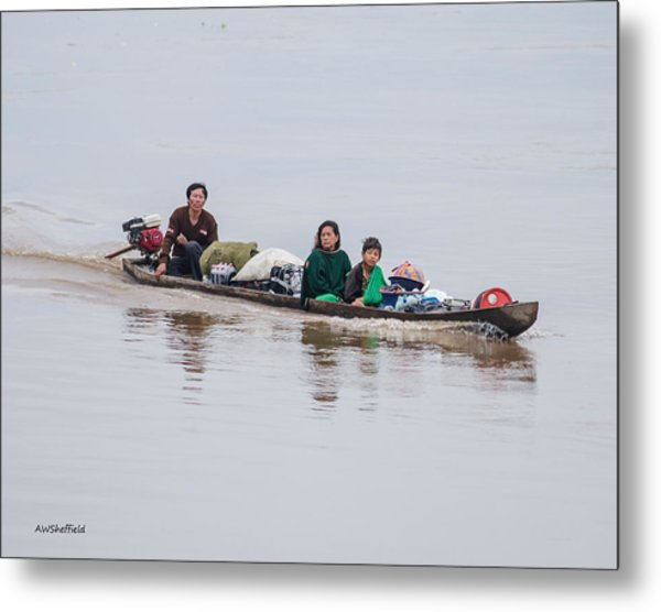 Family Boat On The Amazon Metal Print