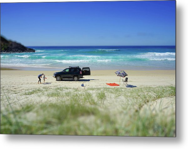 Family Day On Beach With 4wd Car  Metal Print