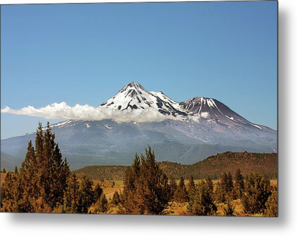 Family Portrait - Mount Shasta And Shastina Northern California Metal Print