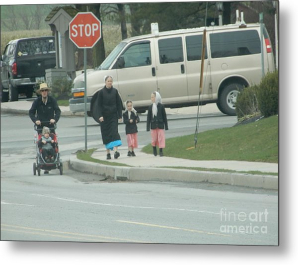 Family Walk Metal Print