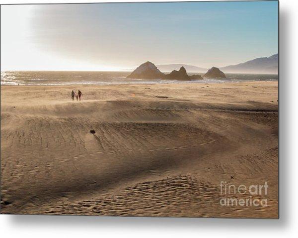 Family Walking On Sand Towards Ocean Metal Print
