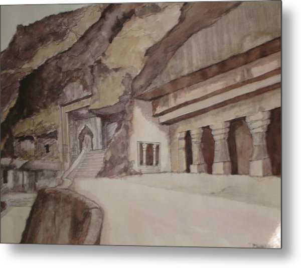 famous Ajantha Caves Metal Print by Bhalchandra Salunkhe