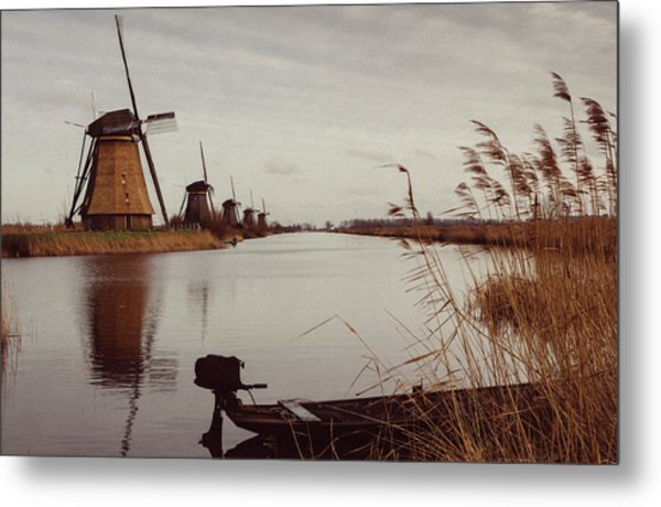 Famous Windmills At Kinderdijk, Netherlands Metal Print