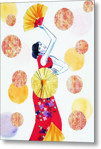 Metal Print featuring the painting Fan Dance by Angelique Bowman