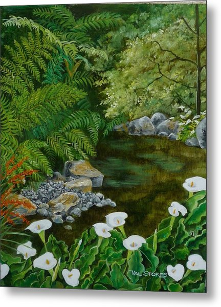 Fantastic Canna Lillies Metal Print by Val Stokes