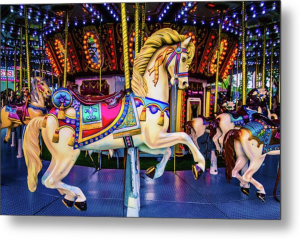Fantasy Carrousel Horse Ride Metal Print