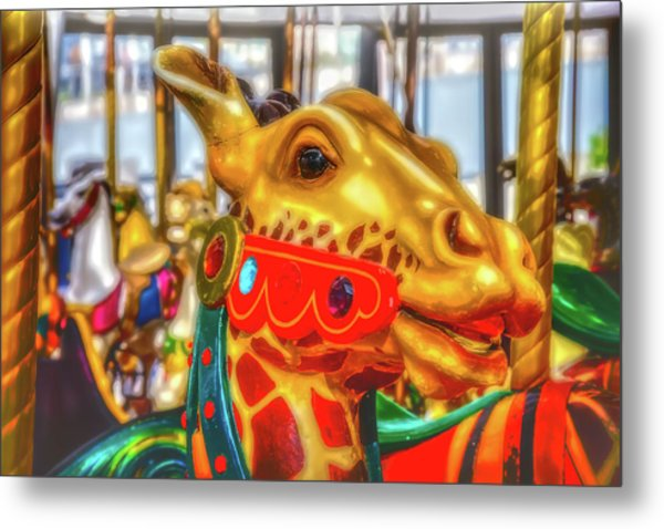 Fantasy Giraffe Carrousel Ride Metal Print