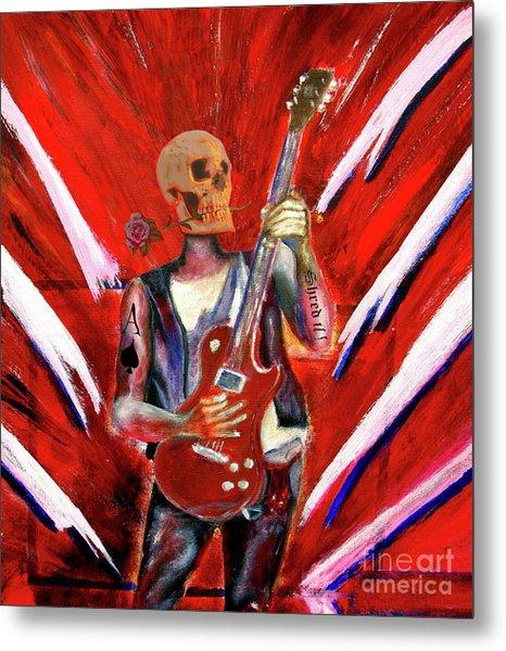 Fantasy Heavy Metal Skull Guitarist Metal Print