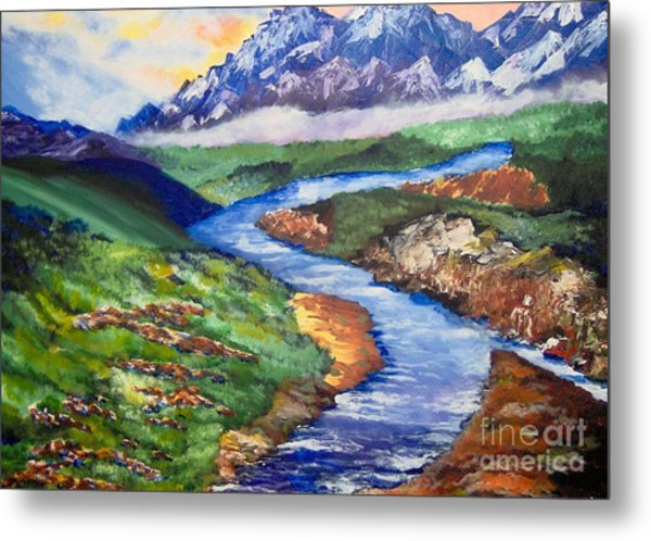 Metal Print featuring the painting Fantasy by Saundra Johnson
